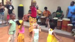 Penelope's first African dance class
