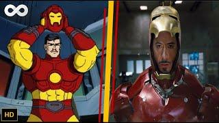 Iron Man Cartoon vs Movie with Suit Up Scenes|Avengers Infinity War Suit Up|Iron Man 1996|HD [1080p]