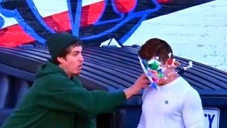 Pie and Feather in the Face Prank!