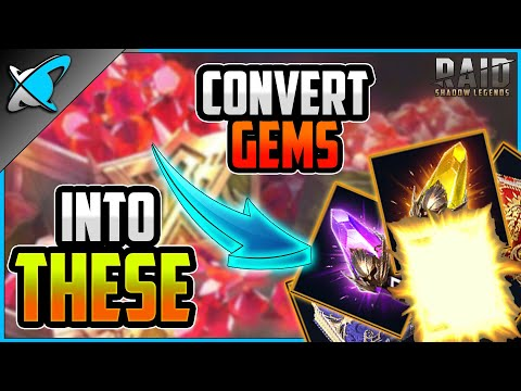 "HOW I USE GEMS | ""Convert"" to Sacreds, Voids, Tomes & Legendaries !! | RAID: Shadow Legends"