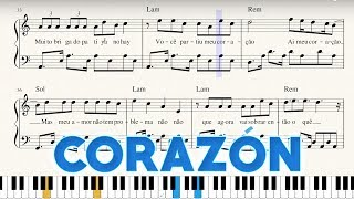 """Corazón"" - Partitura (Sheet Music) + Piano Tutorial - Maluma | George Vidal"