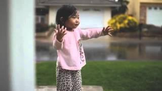 little girl with rain
