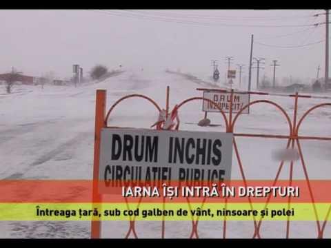 Atenționare de ninsori și viscol pentru întreaga țară