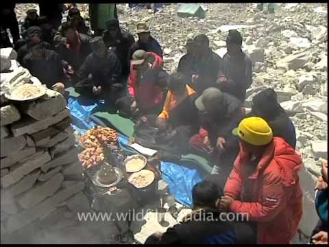 Sherpas and Everest climbers praying at Rongbuk Monastery