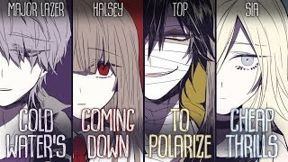 Nightcore - Cold Water x Coming Down x Polarize x Cheap Thrills (Switching Vocals)