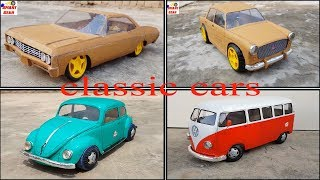 Wow! classic car collection|| cardboard classic cars|| electric toy car|| Beetle, Impala,Samba,Fiat