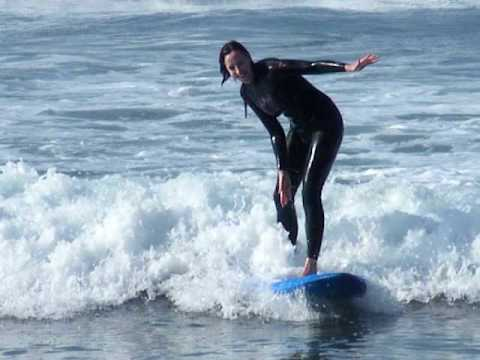Hannah surfing Mysteries Beach, Morocco Feb 2009