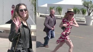Vanessa Paradis and her sister Alysson having lunch at the Agora in Cannes