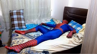 Spiderman Real Life Sleeping One day Fitness Super Heroes All day Life