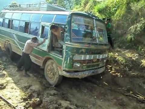 Bus stuck in Muddy road in Nepal(Deadliest way of Gorkha Nepal)