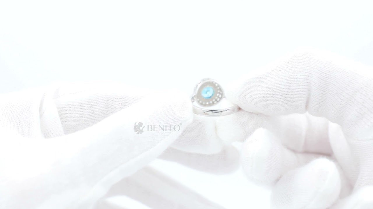 Viola Ring Teal And White Zircon Stones