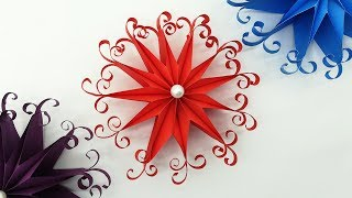 DIY 3D Quilling Christmas Snowflakes   Paper Decoration Ornaments   Do It Yourself