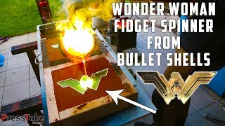 Casting Brass Wonder Woman Fidget Spinner from empty Bullet Shells | PressTube width=