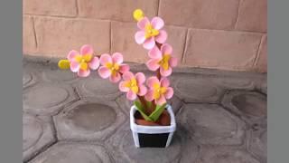 Cara Membuat Bunga Sakura dari Kain Flanel width=