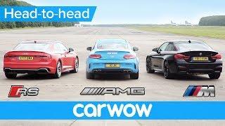 New Audi RS5 v BMW M4 v Mercedes-AMG C63S Drag and Rolling Race   Head2Head