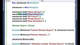 Visual Basic .NET - Ders 315 : ArrayList - RemoveAt
