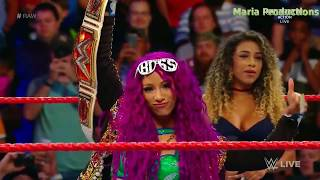 Sasha Banks enters the arena with The Rock's theme song