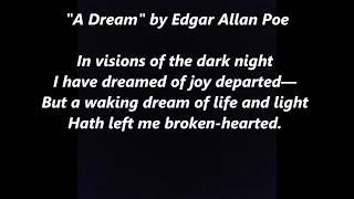 A DREAM by EDGAR ALLAN POE Poem words lyrics favorite sing along song songs ALAN