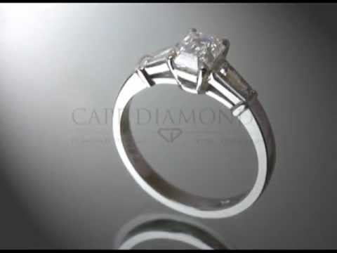 Simple side stone ring,cushion diamond, diamonds each side,platinum,engagement ring
