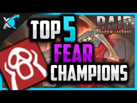 Top 5 FEAR Champions in RAID: Shadow Legends !!