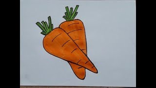 How To Draw Carrot Drawing For Kids Easy Kids Drawings Videos