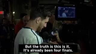 Lionel Messi says he has retired from international football following Argentina's penalty loss to C