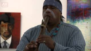 Apache Running-Hawk Plays Flute Inside MOAH Main Gallery Space