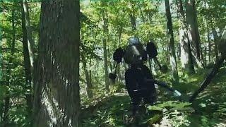 ATLAS robot walking in a forest