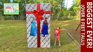 Frozen Biggest Surprise Box Ever at 8ft with Ride On Toy Car! Elsa and Anna Toys