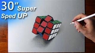 Drawing a Rubik's Cube - 3D art - super sped up video