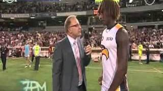 West Coast Eagles player itching his nuts during an interview
