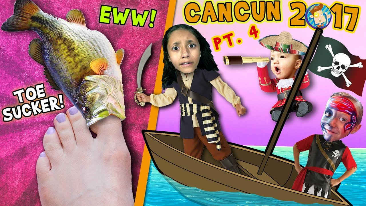 TOE SUCKING FISHES! Squishy Tickle Feet w/ PIRATES! (FUNnel Vision Cancun Mexico Travel Vlog Part 4)