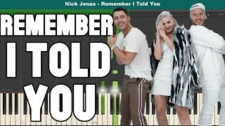 Remember I Told You Piano Tutorial - Nick Jonas Ft. Anne-Marie & Mike Posner