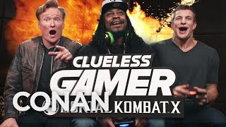 "Marshawn Lynch and Rob Gronkowski Play ""Mortal Kombat X"" With Conan O'Brien"