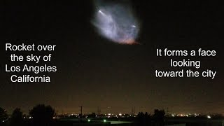 Rocket over Los Angeles sky. Plus a face in the sky looking towards the city.