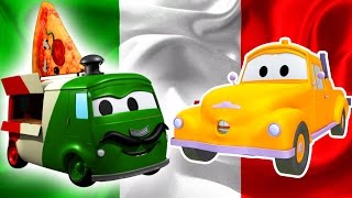Tom The Tow Truck and Carlo the Pizzaïolo in Car City  Car & Truck construction cartoon for children