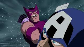 Captain America and Vision vs. Hawkeye and Ms. Marvel