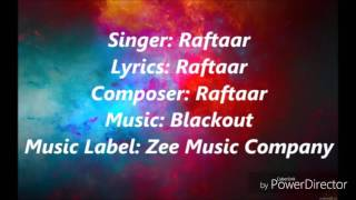 Baby marvake manegi by raftaar with lyrics