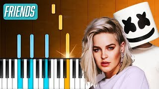 """Marshmello  & Anne-Marie - """"Friends"""" Piano Tutorial - Chords - How To Play - Cover"""