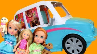 PUPPY Mobile ! Elsa & Anna toddlers - Barbie - Chelsea - merry go round Carousel Playing