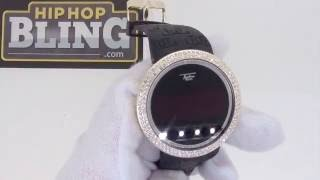 Techno Pave Digital Watch - Gold Bling Bling Bezel - Black Band