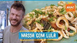 Espaguete CASEIRO com molho de tomates e lula frita   Rodrigo Hilbert   Tempero de Família
