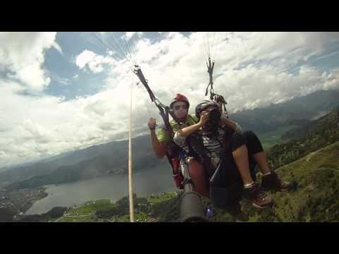 Paragliding above Phewa Lake, Nepal (Taking off) Sep 2011