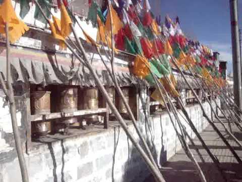 08 Prof. Juan Lázara con  bandereros tibetanos.MPG
