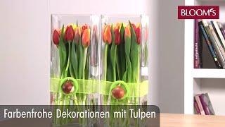 Farbenfrohe Dekoration mit Tulpen