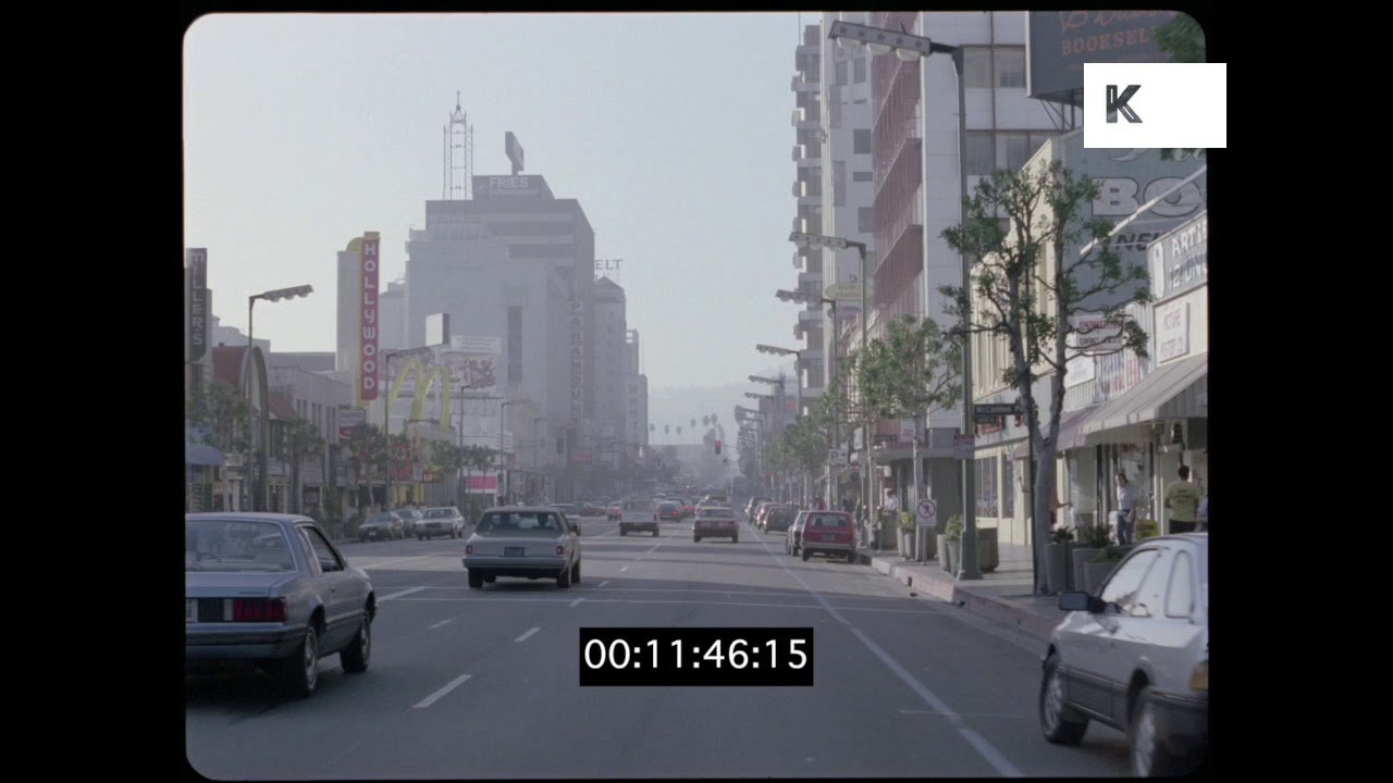 Driving on Hollywood Boulevard, 1980s, Los Angeles, HD