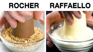 Amasse 8 bombons Ferrero Rocher e Raffaello e transforme-os em uma deliciosa sobremesa!