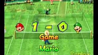 Mario Power Tennis - Standard Match - Mario vs. Ace Star Luigi