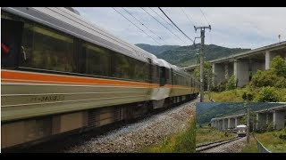 【JR Shinonoi line/Central west line  Limited express wide view Shinano 383】篠ノ井線 桑ノ原信号所 姨捨駅通過