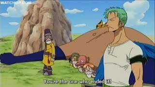 One Piece funny scene - Zoro screws up the Davy Back fight width=